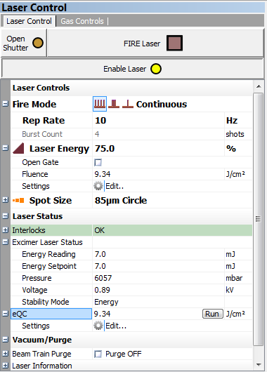 eQC Laser Control Window